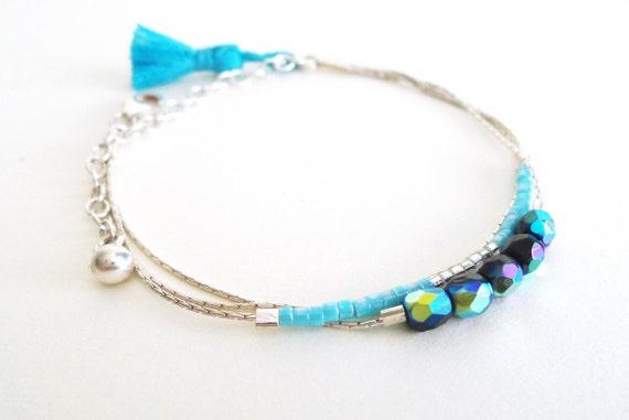 Bracelet 3 chains minimalist 925 sterling silver fine delicate current azure clear blue sky Bohemian crystal pearls rubbles Miyuki Pompom