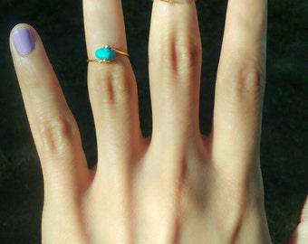 SET Dainty Thin Silver Gold Gypsy Bohemian Gemstone Ring Rings Turquoise Opalite Opal Quartz  Midi Knuckle Malachite 2X