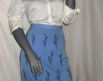 Talbots Blue/Navy Leaves/Floral Secretary Knee Length Slit Career Skirt 12