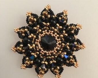 Black Crystal Brooch-Pendant
