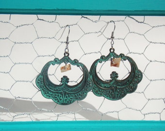 Shabby Chic Teal Earrings