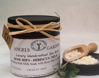 Silky Rose Hips Hibiscus Milk Bath Soak.Moisturizing spa bath.Bath salts and milk.Milk bath.Skin care.Soap,bath salt,spa gift for her,
