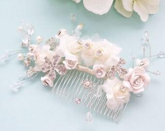 Vintage Style Wedding Hair Comb, Bridal Hair Comb, Ivory Flower Crystal Vine Comb, Bridal Flower Statement Headpiece, Rhinestone Headpiece