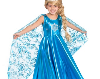 Elsa Dress For Girls, Elsa Costume, Elsa Birthday, Princess Dress, Elsa Dress Toddler, Frozen Elsa Dress, Elsa Crown, Elsa Cape