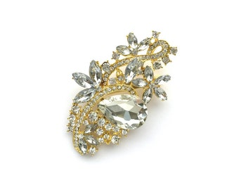 Gold Rhinestone Brooch Crystal Brooch Wedding Accessories Bridal Brooch bouquet Hair comb