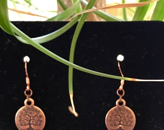 Copper Tree of Life Earrings