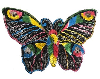 Butterfly Applique, 1930s vintage embroidered applique. Vintage sewing supply. Applique, Crazy quilt. #646GD2K8