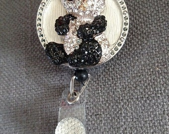 Adorable panda badge reel, ID badge holder, retractable badge reel, badge clip, nurse bling