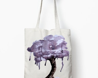 Purple tree tote bag, watercolor art bag, canvas tote bag