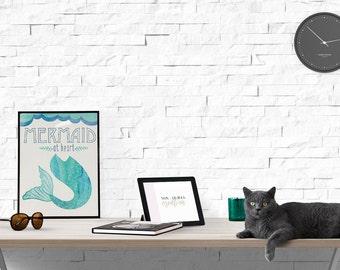 "Mermaid at Heart 8x10"" digital download mermaid print"