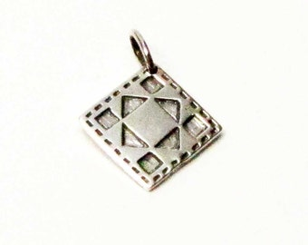 Square in Square Quilt | Quilt Square Charm | Charm Bracelet Charm | Sterling Silver Charms | Silver Pendant | Brown County Silver