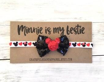 Minnie is my bestie, Minnie mouse headband, Minnie mouse bow, Baby girl bow, Minnie Mouse ears, Girls headband, Minnie Mouse party
