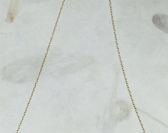 14 Karat Yellow Gold 15 inch Ladies and Teens Delicate Fine Link Pendant Chain