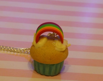 Rainbow Cupcake Necklace