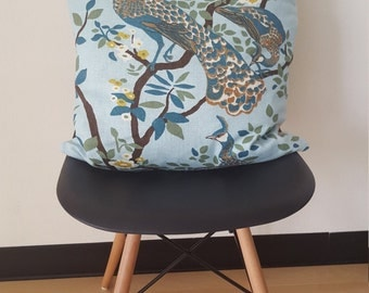 Linen Peacock Pillows - A Pair