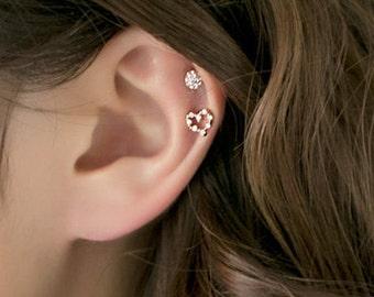 Heart CZ Piercing, Heart Cartilage Earring, Helix Piercing, Ear Piercing, Helix Earring, Heart Piercing, Helix, 16g 18g cartilage earring