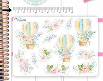 Air Ballon Stickers Spring Stickers Flower Stickers Planner Stickers Erin Condren Functional Stickers Decorative Stickers NR482