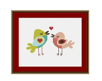 Little Love Birds Cross Stitch Pattern, Counted Cross Stitch Chart, Digital Download   (P-393)