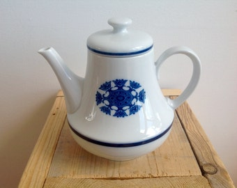 SALE, 15 instead of 20! Dutch teapot, Mosa Maastricht, blue white ceramic teapot, seventies tea pot