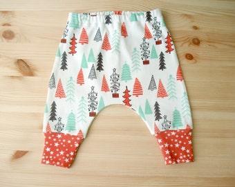 Merry Christmas Pants Baby Christmas Outfit ORGANIC Baby clothes Pants baby pants newborn leggins organic cotton kids clothes harem pants