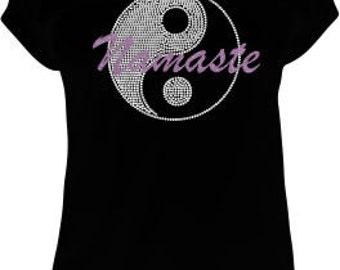 Yin Yang Tshirt, Yoga Tshirt, Rhinestone Tshirt, Namaste Tshirt
