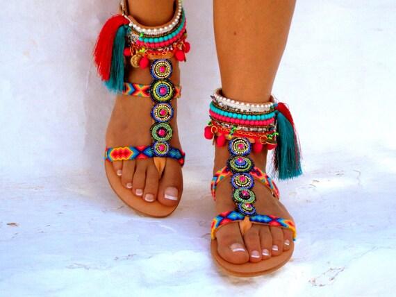 INKA\ «amitiés Boho sandales, chaussures d'été Pom pom, sandales à la main, sandales grecques, sandales de hippie, sandales Bohème