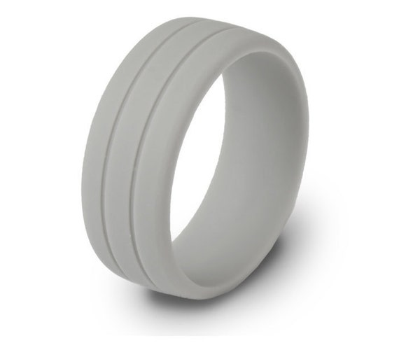 ON SALE Mens Gray Rubber Silicone Wedding Ring By ModernFashionCo