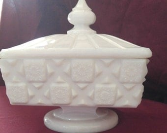 Westmoreland Square Milk Glass Candy Dish/Compote