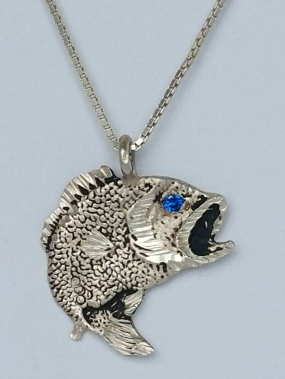Fine 999 silver bass fish with sapphire eye necklace 18 for Silver bass fish