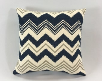 Navy Grey Chevron Pillow Cover - Zazzle Nina/Birch Print - Decorative Throw Pillow Cover -Chevron Accent Pillow -Hidden Zipper -Custom Sizes