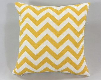 Yellow Chevron Pillow Cover- Zig Zag Corn Yellow Print- Chevron Throw Pillow Cover - Chevron Accent Pillow - Hidden Zipper - Custom Sizes