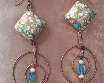 Elegant gold and teal dangle earrings