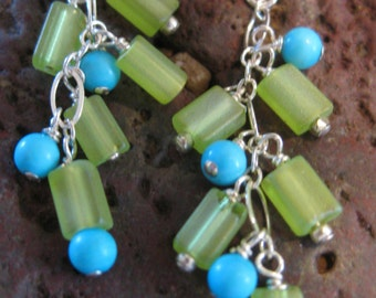 Sleeping Beauty turquoise balls & frosted lime green beads, earrings