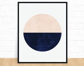 Circle Wall Art, Geometric Circle Print, Indigo Art, Scandinavian, Affiche Scandinave, Home Decor, Minimalist Art, Printable, Gifts for Him