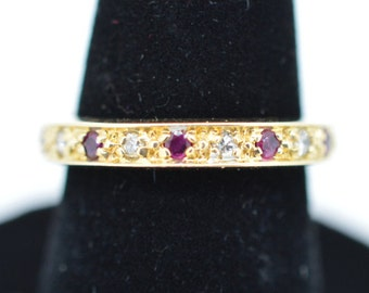 Vintage Ladies 14k Yellow Gold, Diamond and Ruby Ring - Size 6 1/4""