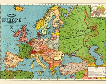 Europe Map Etsy - Map of europe