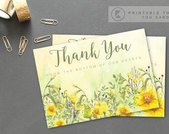 Wedding invitation Thank you  Appreciation Card Watercolor Summer Floral