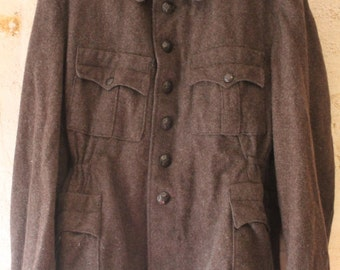 Brown military wool jacket
