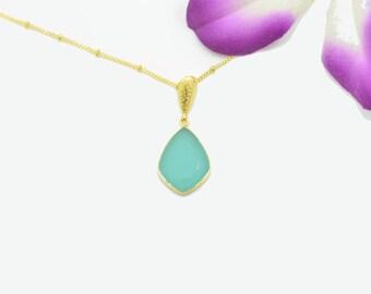 Aqua Chalcedony Necklace, Chalcedony Gold Necklace, Silver Chalcedony Necklace, Chalcedony Pendants, Chalcedony Gold Pendant, Silver Pendant