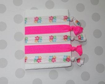 Tropical Flowers and Neon Pink Elastic Hair Ties
