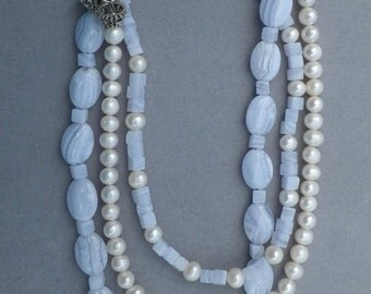Multi-Strand Blue Lace Agate and White Pearl Necklace