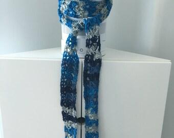 Skinny Crochet Knit Scarf, Blue Gray, Extra Long