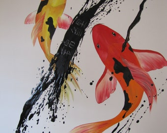 Koi Painting, Original Art Painting on Canvas, Original oil, Hand made,by Tomer Sharabani