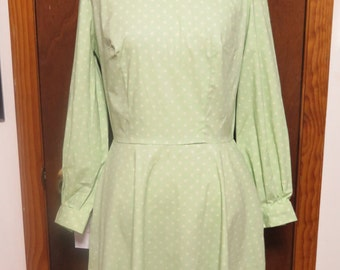 Vintage 1960's Lime Green Cotton Polka Dot With Peter Pan Collar Cinched Scooter Dress Sz M