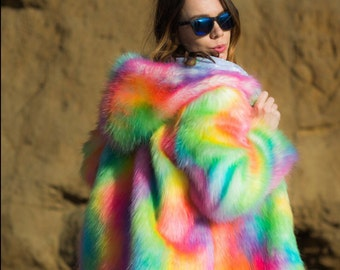 Sugar Rainbow Reversible Festival Coat Colorful Fake Fur Shiny Boho Wear Fashion Disco Jacket