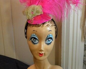Burlesque Showgirl Pink Ostrich Feather Headdress Fascinator Headpiece Headband