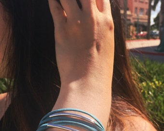 Personalized Suede teal bracelet, silver tubes, feminine bracelet