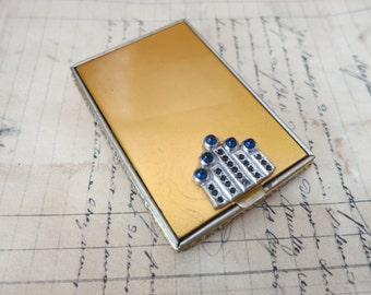Art Deco Vintage Walter Lampl Compact Jeweled Rhinestone Mirror Original Rouge