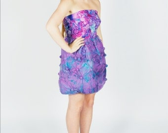 Hand Felted Shibori Sea Anemone Strapless Dress
