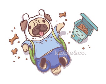 Adventure Time, Art Print, Finn and Jake, Adventure Time Dog, Wall Art, Pug Prints, Pugs, Dog Illustrations, Cute Dogs, Finn, Jake, Cartoon